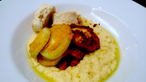 BLACKENED SHRIMP, FRIED GREEN TOMATO, BISCUITS & GRITS