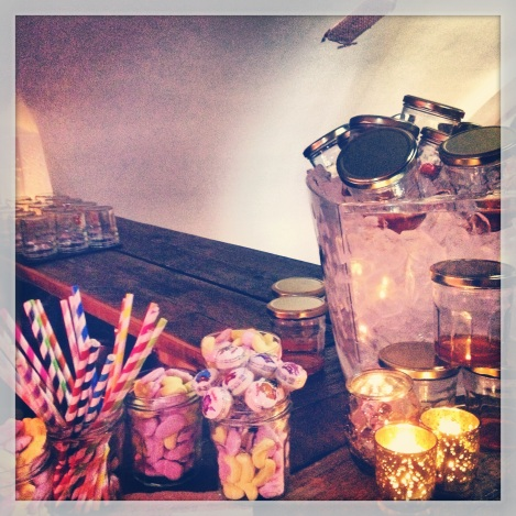 LITTLE TOUCHES.... COLOURED STAWS, PENNY SWEETS AND DRINKS IN JARS