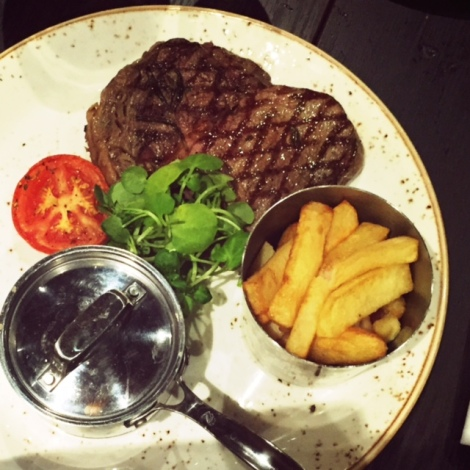 Ribeye Steak with Mushroom Sauce and Trice Cooked Chips